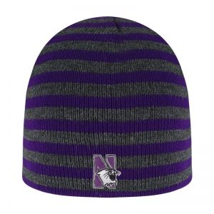 Northwestern University Wildcats Adult Purple/Charcoal Blizzard Micro Stripped Knit Beanie