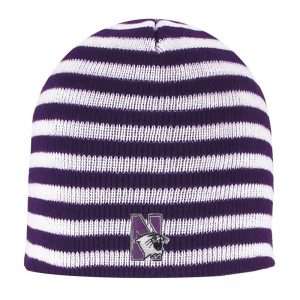 Northwestern University Wildcats Adult Purple/White Blizzard Micro Stripped Knit Beanie