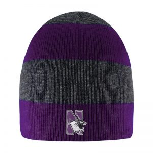 Northwestern University Wildcats Adult Purple/Charcoal Columbia Rugby Stripped Beanie