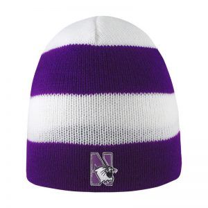 Northwestern University Wildcats Adult Purple/White Columbia Rugby Stripped Beanie