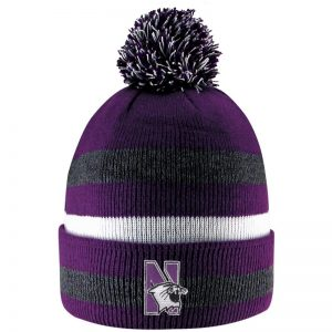 Northwestern University Wildcats Adult Prime Time Stripped Knit Cuff Hat With Pom