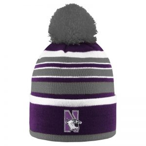 Northwestern University Wildcats Adult Bradshaw Stripped Knit Cuff Hat With Pom