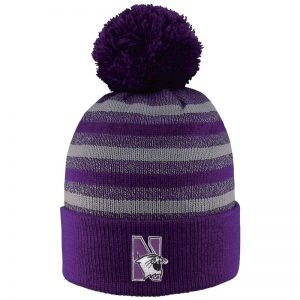Northwestern University Wildcats Adult Doc Marled Yarn Cuff Hat With Pom