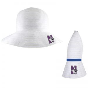 Northwestern University Wildcats Amelia White Collapsible Travel Sun Hat With Accent Hair Band