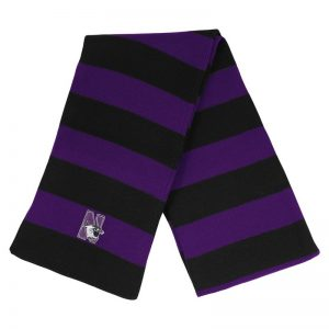Northwestern University Wildcats Purple/Black Rugby-stripped Knit Scarf