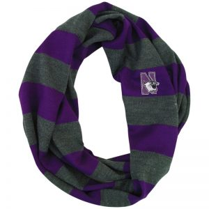 Northwestern University Wildcats Purple/Charcoal Rugby Stripped Lightweight Infinity Scarf