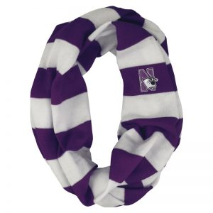 Northwestern University Wildcats Purple/White Rugby Stripped Lightweight Infinity Scarf