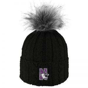 Northwestern University Wildcats Adult ALPS Black Knit Cuff Hat With Faux Fur Pom