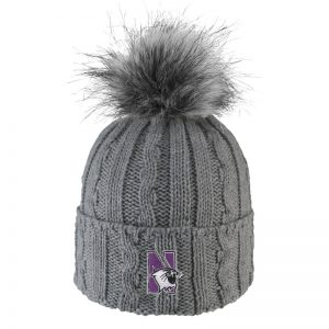 Northwestern University Wildcats Adult ALPS Grey Knit Cuff Hat With Faux Fur Pom