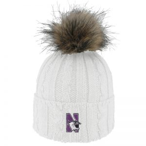 Northwestern University Wildcats Adult ALPS White Knit Cuff Hat With Faux Fur Pom
