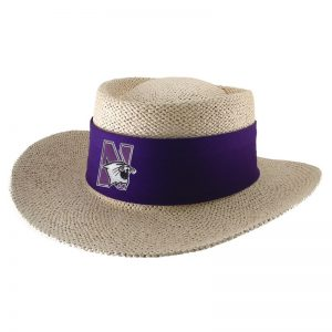 Northwestern University Wildcats Tournament Gambler Hat With Sunblock Lining and Flex-fit Band in Natural Color