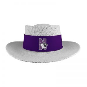 Northwestern University Wildcats Tournament Gambler Hat With Sunblock Lining and Flex-fit Band in Birch Color