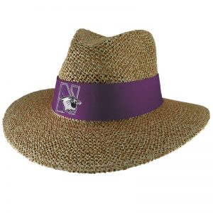Northwestern University Wildcats Angler Safari Straw Hat with Sunblock Lining and Flex-Fit Band