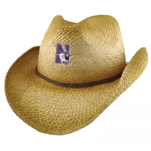 Northwestern University Wildcats Wrangler Distressed Raffia Cowboy Hat With Swede Leather Accent and Flex-fit Band