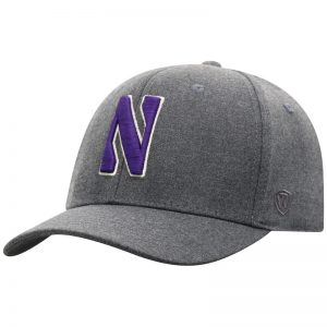 Northwestern University Wildcats Top Of The World Constructed Dressy Grey Fabric Hat with Stylized N Design