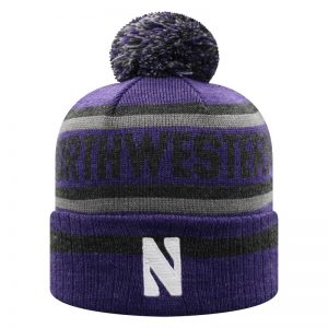 Northwestern University Wildcats Adult Three Tone Cuffed Pom Knit Hat With Knitted Northwestern & Embroidered Stylized N-Front