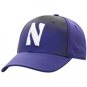 Northwestern University Wildcats Top Of The World Constructed Onefit Purple/Printed Black Performance Hat with Stylized N Design