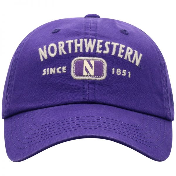 Northwestern University Wildcats Top Of The World Garment Washed Purple Canvas Self Fabric Adjustable Intellect Hat-Front 3