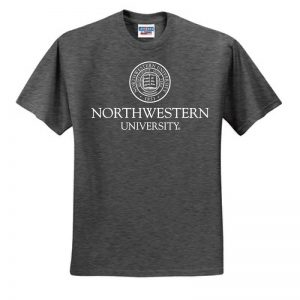 Northwestern University Wildcats Men's Black Heather Charcoal Short Sleeve Tee Shirt with Northwestern University Seal Design