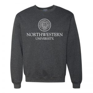 Northwestern University Wildcats Men's Black Heather Crewneck Sweatshirt with Northwestern University Seal Design