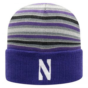 Northwestern University Wildcats Adult Multicolor Stripped Cuffed Pom Knit Hat With Embroidered Stylized N