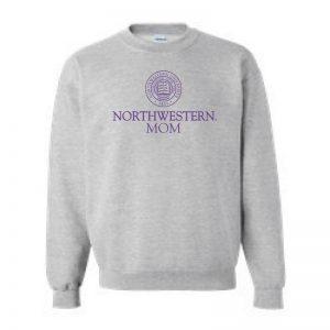 Northwestern University Wildcats Dark Grey Crewneck Sweatshirt With Mom Design