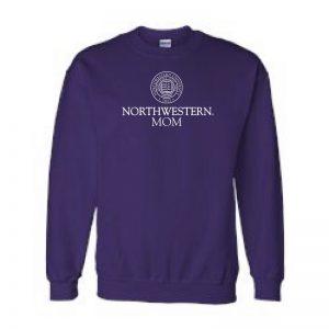 Northwestern University Wildcats Purple Crewneck Sweatshirt With Mom Design