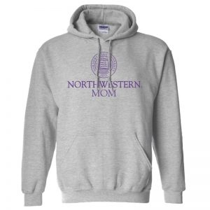 Northwestern University Wildcats Dark Grey Hooded Sweatshirt With Mom Design