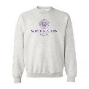 Northwestern University Wildcats Light Grey Crewneck Sweatshirt With Mom Design