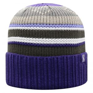 Northwestern University Wildcats Adult Multicolor Old Fahion Stripped Cuffed Knit Hat With a Small Woven N Logo Label