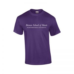 NU Purple Short Sleeve Tee Shirt with Bienen School of Music Design