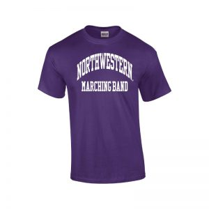 Northwestern University Wildcats Purple Short Sleeve Tee Shirt with Marching Band Design