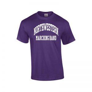 Northwestern University Wildcats Purple Short Sleeve Tee Shirt with Marching Band Design