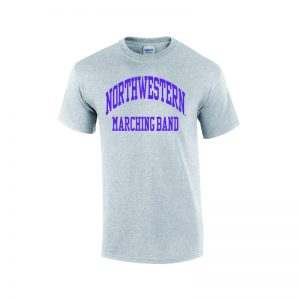 Northwestern University Wildcats Grey Short Sleeve Tee Shirt with Marching Band Design