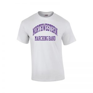 Northwestern University Wildcats White Short Sleeve Tee Shirt with Marching Band Design