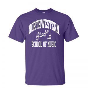 Northwestern University Wildcats Purple Short Sleeve Tee Shirt with Music Design