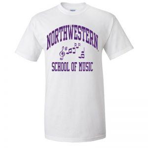 Northwestern University Wildcats White Short Sleeve Tee Shirt with Music Design