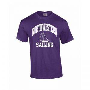 Northwestern University Wildcats Purple Short Sleeve Tee Shirt with Sailing Design
