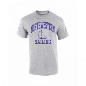Northwestern University Wildcats Grey Short Sleeve Tee Shirt with Sailing Design