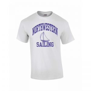 Northwestern University Wildcats White Short Sleeve Tee Shirt with Sailing Design