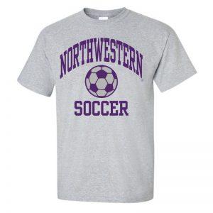 Northwestern University Wildcats Grey Short Sleeve Tee Shirt with Soccer Design