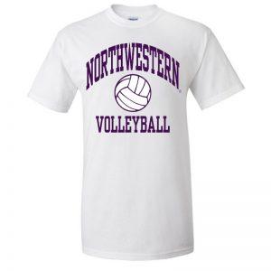 Northwestern University Wildcats White Short Sleeve Tee Shirt with Volleyball Design