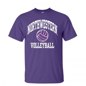 Northwestern University Wildcats Purple Short Sleeve Tee Shirt with Volleyball Design