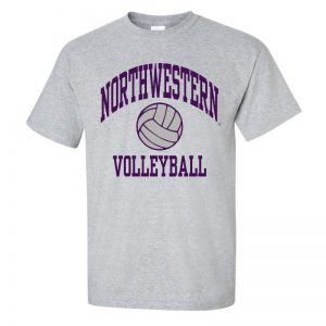 Northwestern University Wildcats Grey Short Sleeve Tee Shirt with Volleyball Design