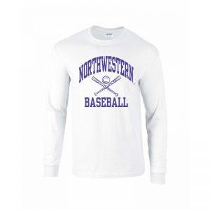 Northwestern University Wildcats White Long Sleeve Tee Shirt with Baseball Design