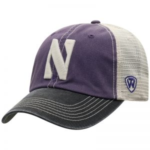 Northwestern University Wildcats Top Of The World Adjustable Snapback Purple/Cream Trucker Mesh Hat with Stylized N Design & Black Visor