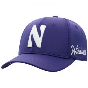 Northwestern University Wildcats Top Of The World Constructed Onefit Purple Performance Hat with Stylized N Design