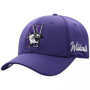 Northwestern University Wildcats Top Of The World Constructed Onefit Purple Performance Hat with N-Cat Design