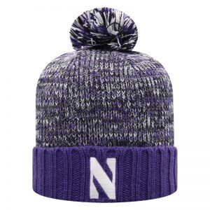 Northwestern University Wildcats Adult Multicolor Old Fahion Cuffed Pom Knit Hat With Embroidered Stylized N Design