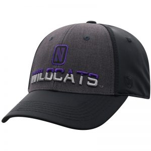 Northwestern University Wildcats Top Of The World Constructed Two Tone Charcoal/Black Onefit/Stretchfit Tag Hat